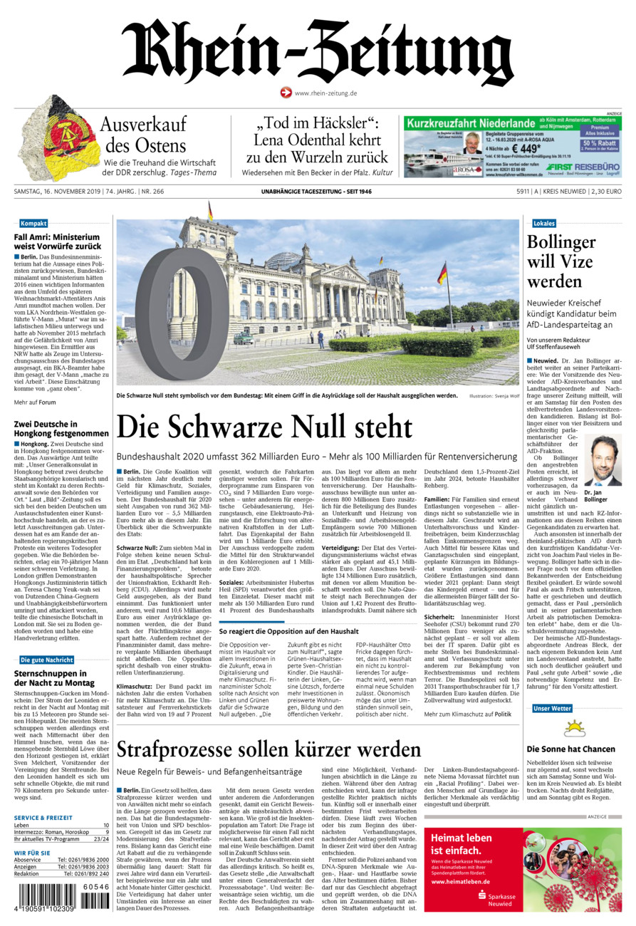 Rhein-Zeitung Kreis Neuwied vom Samstag, 16.11.2019