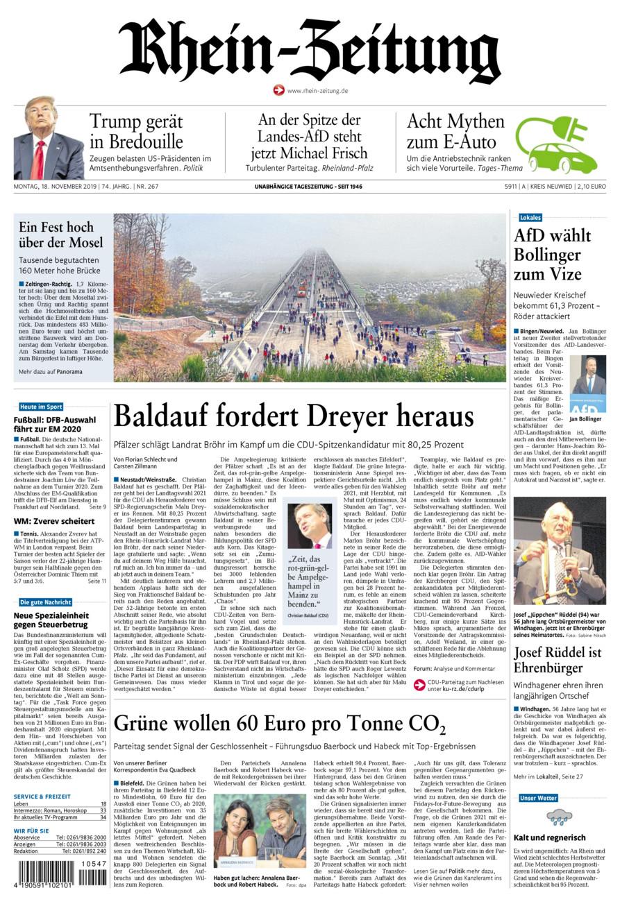 Rhein-Zeitung Kreis Neuwied vom Montag, 18.11.2019