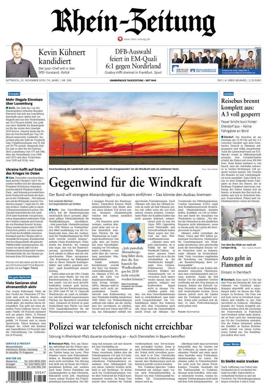 Rhein-Zeitung Kreis Neuwied vom Mittwoch, 20.11.2019