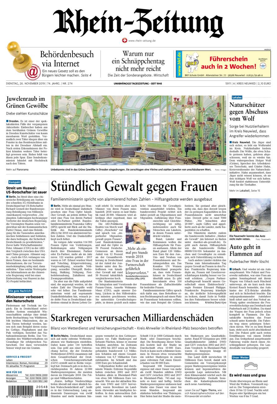 Rhein-Zeitung Kreis Neuwied vom Dienstag, 26.11.2019