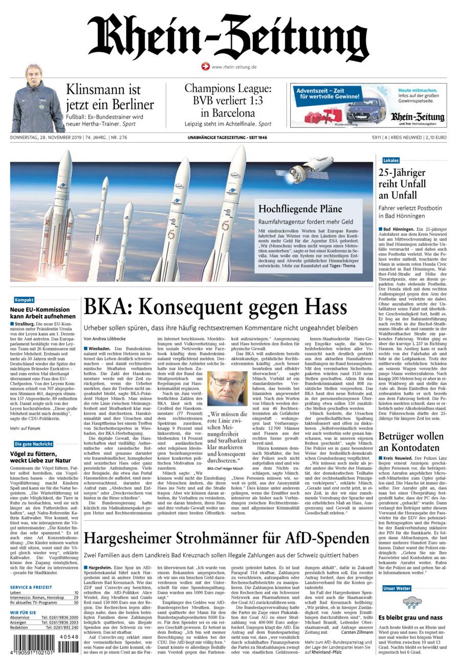 Rhein-Zeitung Kreis Neuwied vom Donnerstag, 28.11.2019