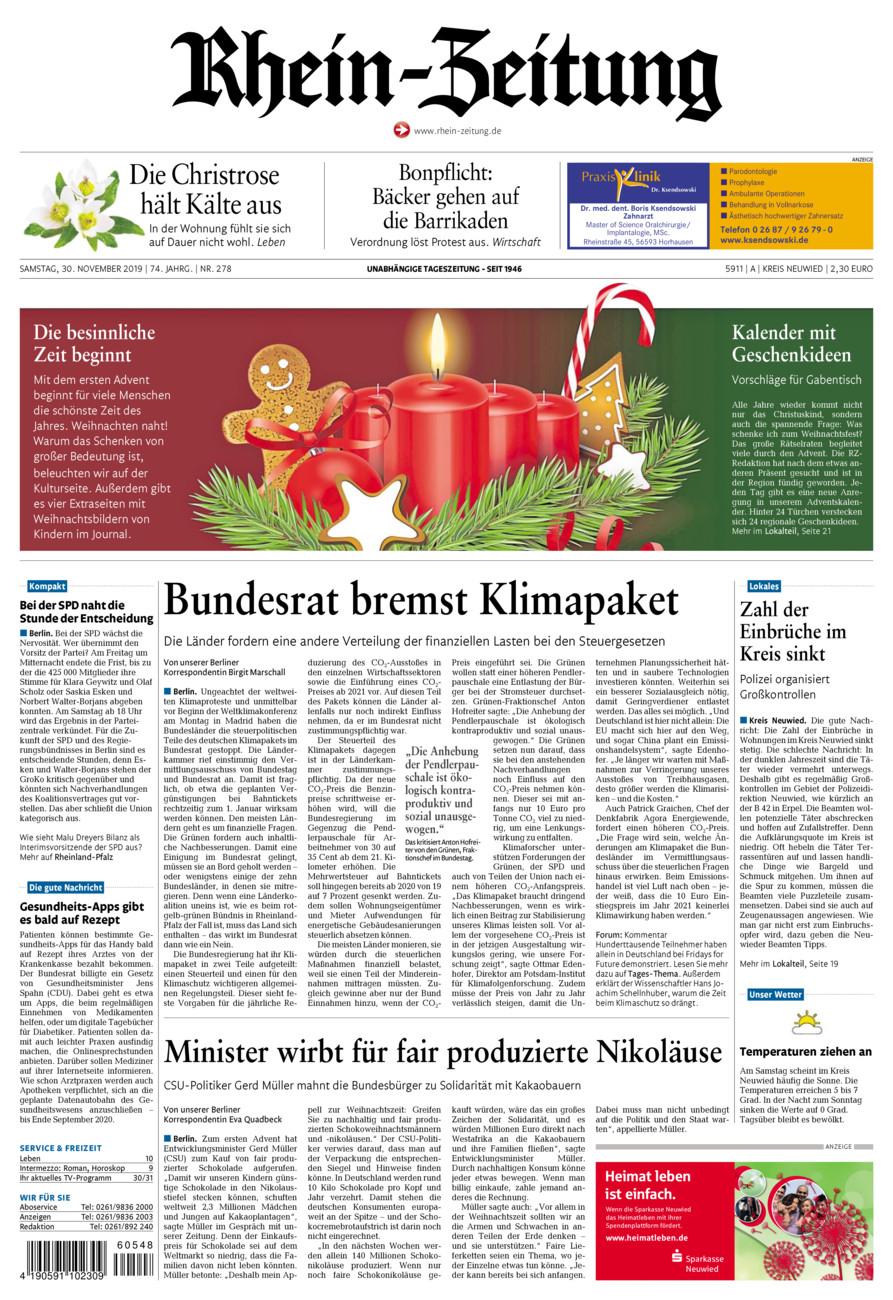 Rhein-Zeitung Kreis Neuwied vom Samstag, 30.11.2019