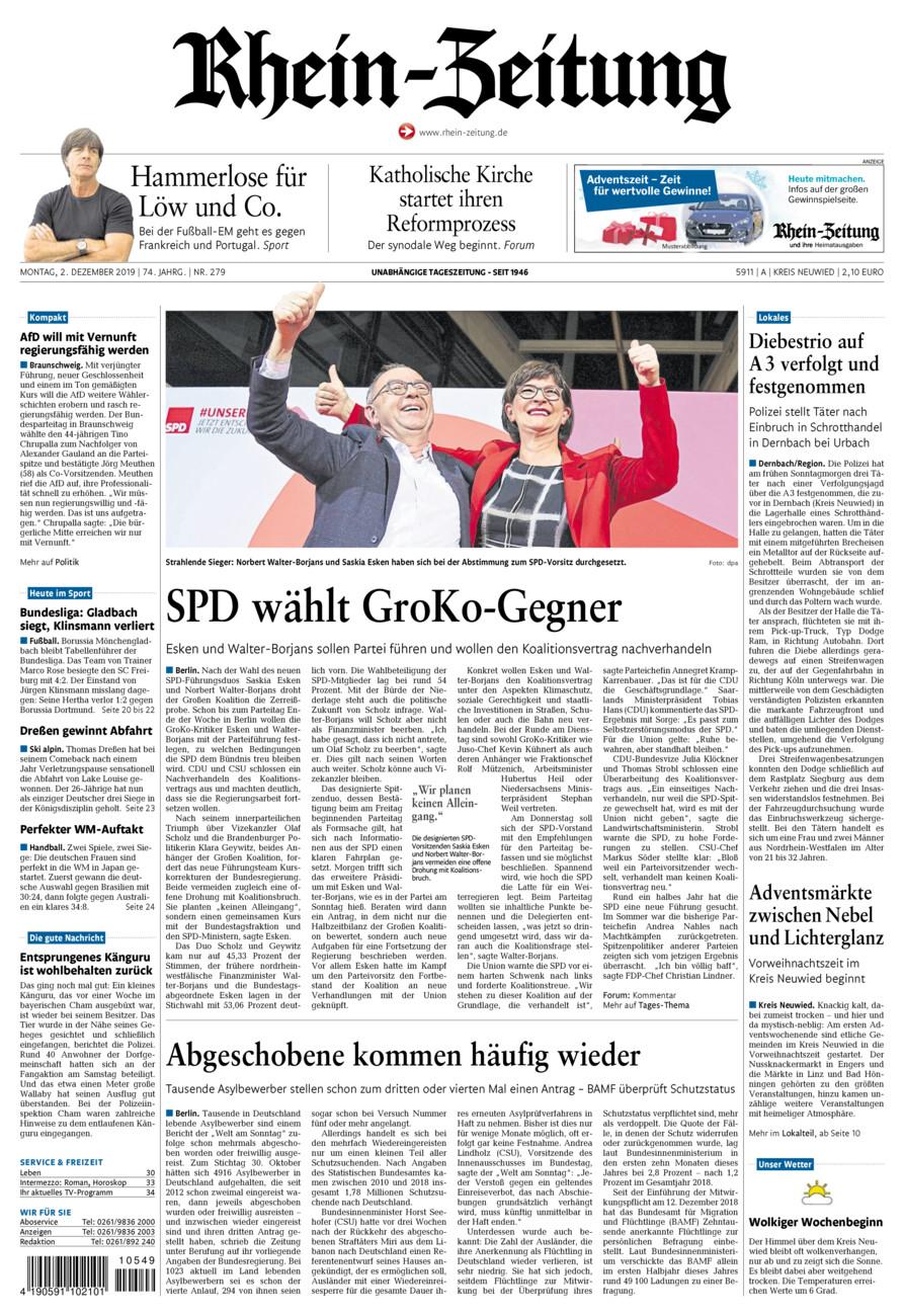 Rhein-Zeitung Kreis Neuwied vom Montag, 02.12.2019