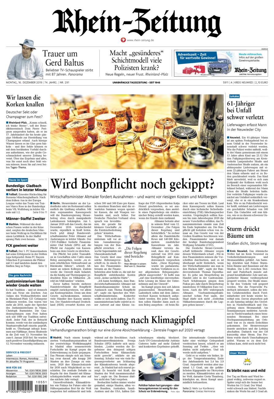Rhein-Zeitung Kreis Neuwied vom Montag, 16.12.2019