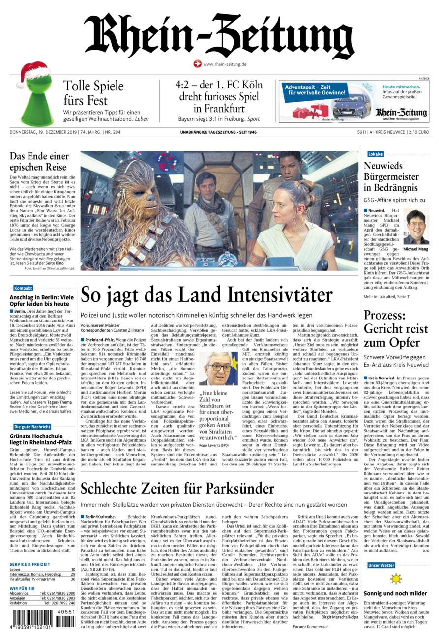 Rhein-Zeitung Kreis Neuwied vom Donnerstag, 19.12.2019