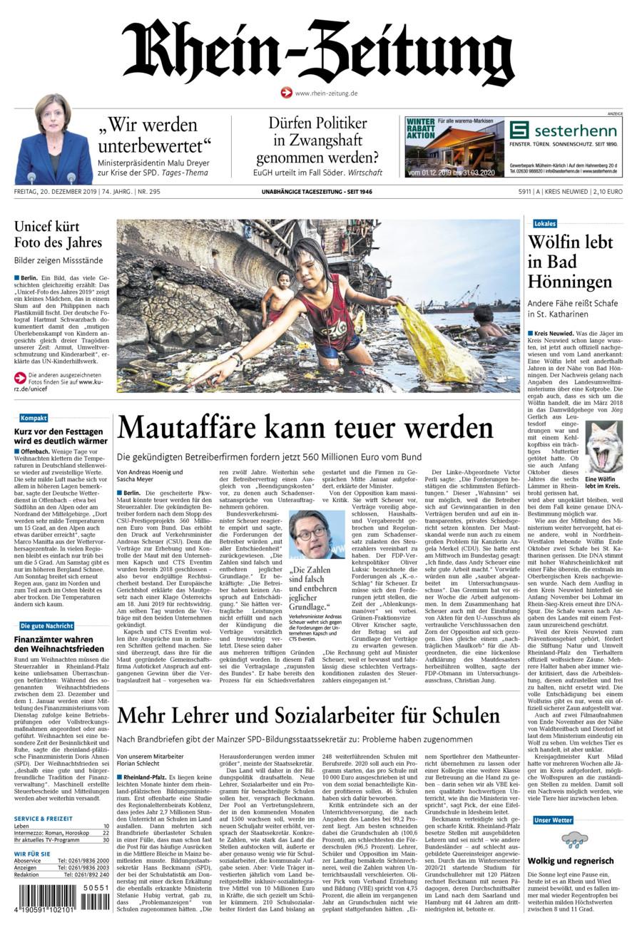 Rhein-Zeitung Kreis Neuwied vom Freitag, 20.12.2019