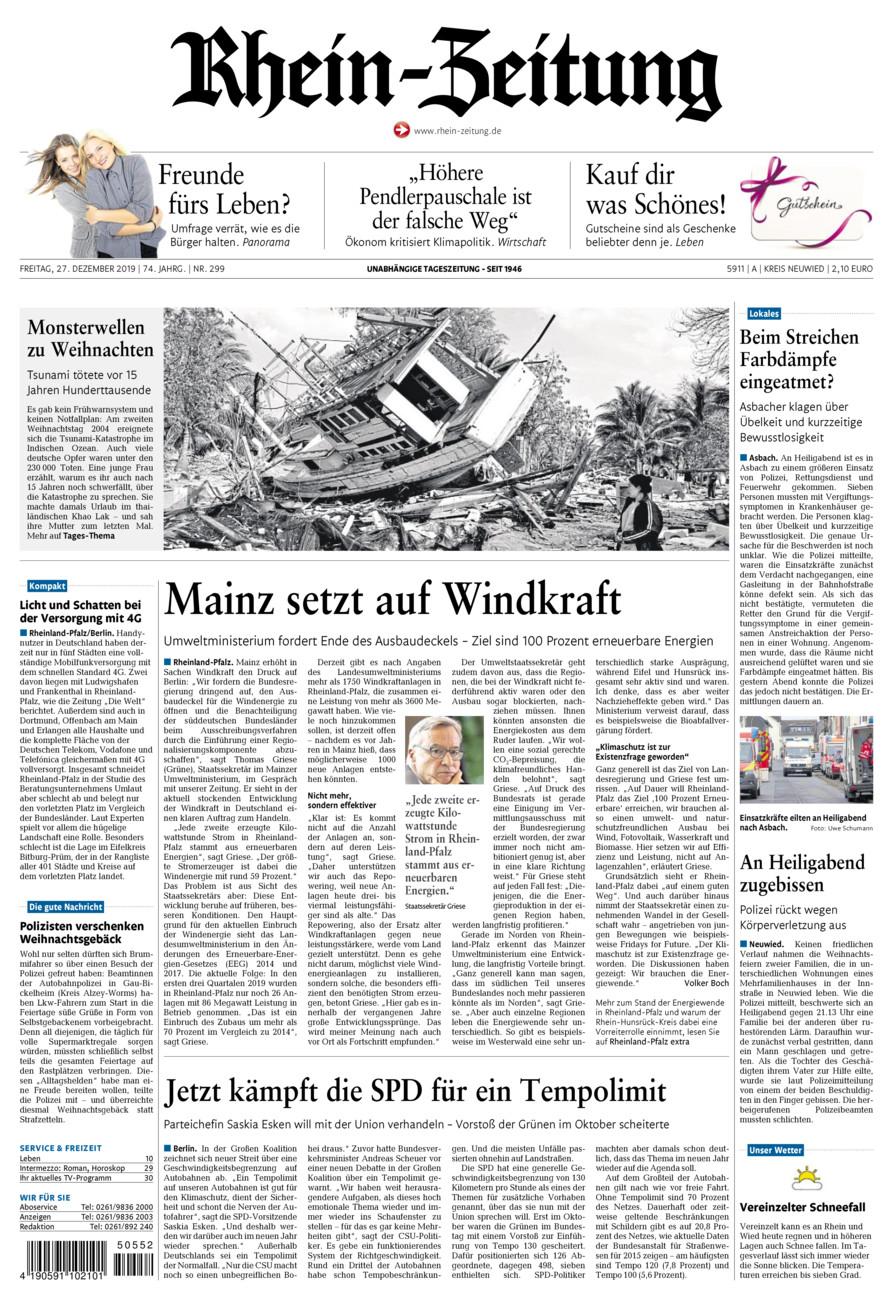 Rhein-Zeitung Kreis Neuwied vom Freitag, 27.12.2019