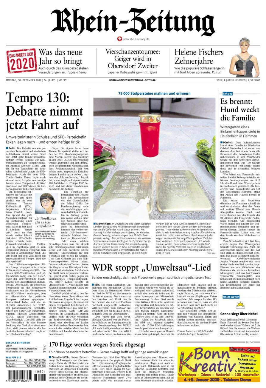 Rhein-Zeitung Kreis Neuwied vom Montag, 30.12.2019