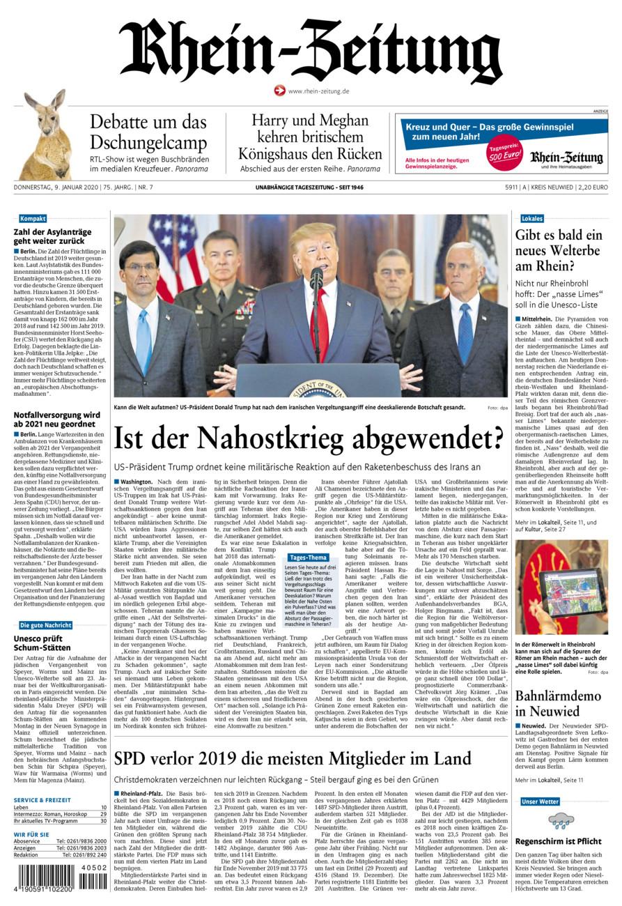 Rhein-Zeitung Kreis Neuwied vom Donnerstag, 09.01.2020