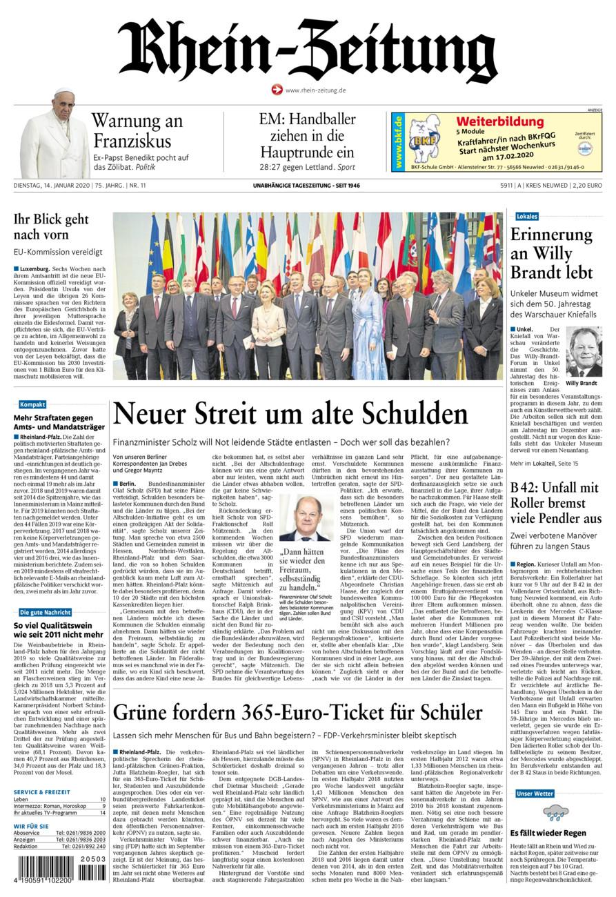 Rhein-Zeitung Kreis Neuwied vom Dienstag, 14.01.2020