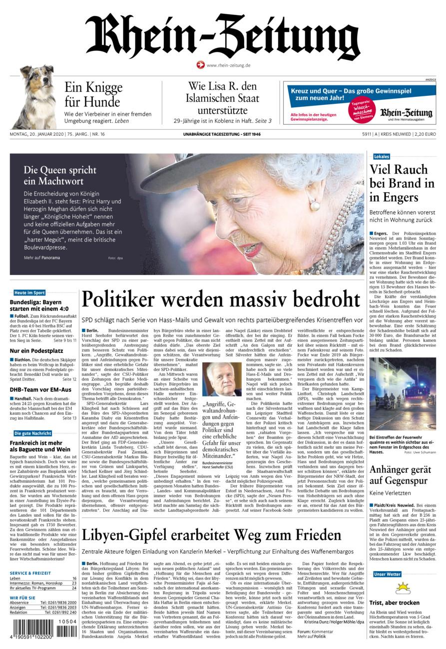 Rhein-Zeitung Kreis Neuwied vom Montag, 20.01.2020