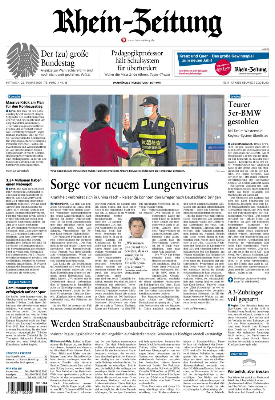 Rhein-Zeitung Kreis Neuwied vom Mittwoch, 22.01.2020