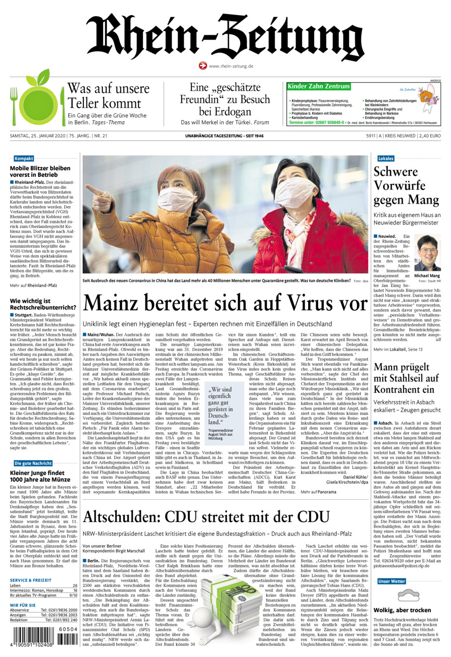 Rhein-Zeitung Kreis Neuwied vom Samstag, 25.01.2020