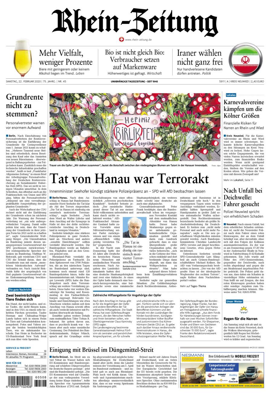 Rhein-Zeitung Kreis Neuwied vom Samstag, 22.02.2020