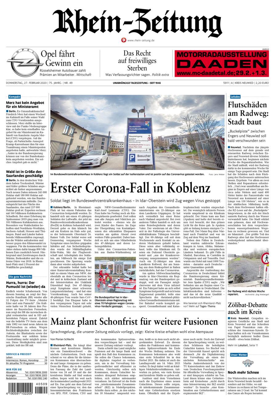 Rhein-Zeitung Kreis Neuwied vom Donnerstag, 27.02.2020