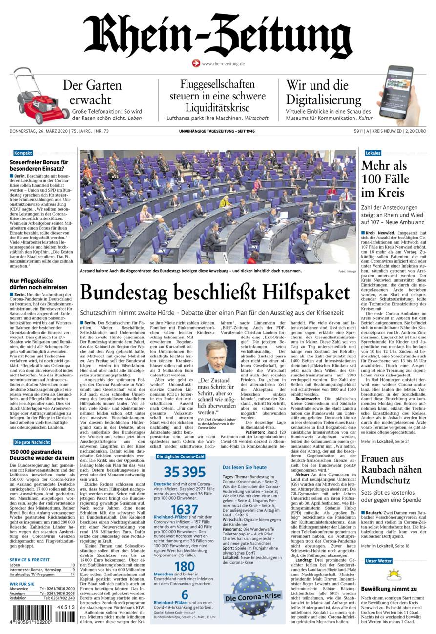 Rhein-Zeitung Kreis Neuwied vom Donnerstag, 26.03.2020