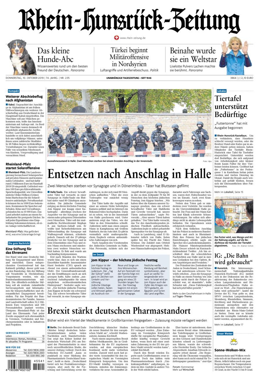 Rhein-Hunsrück-Zeitung vom Donnerstag, 10.10.2019