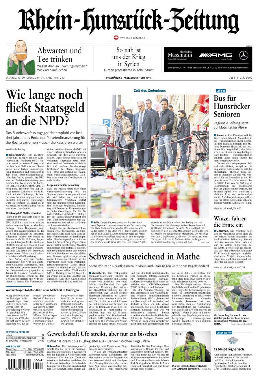 Rhein-Hunsrück-Zeitung vom Samstag, 19.10.2019
