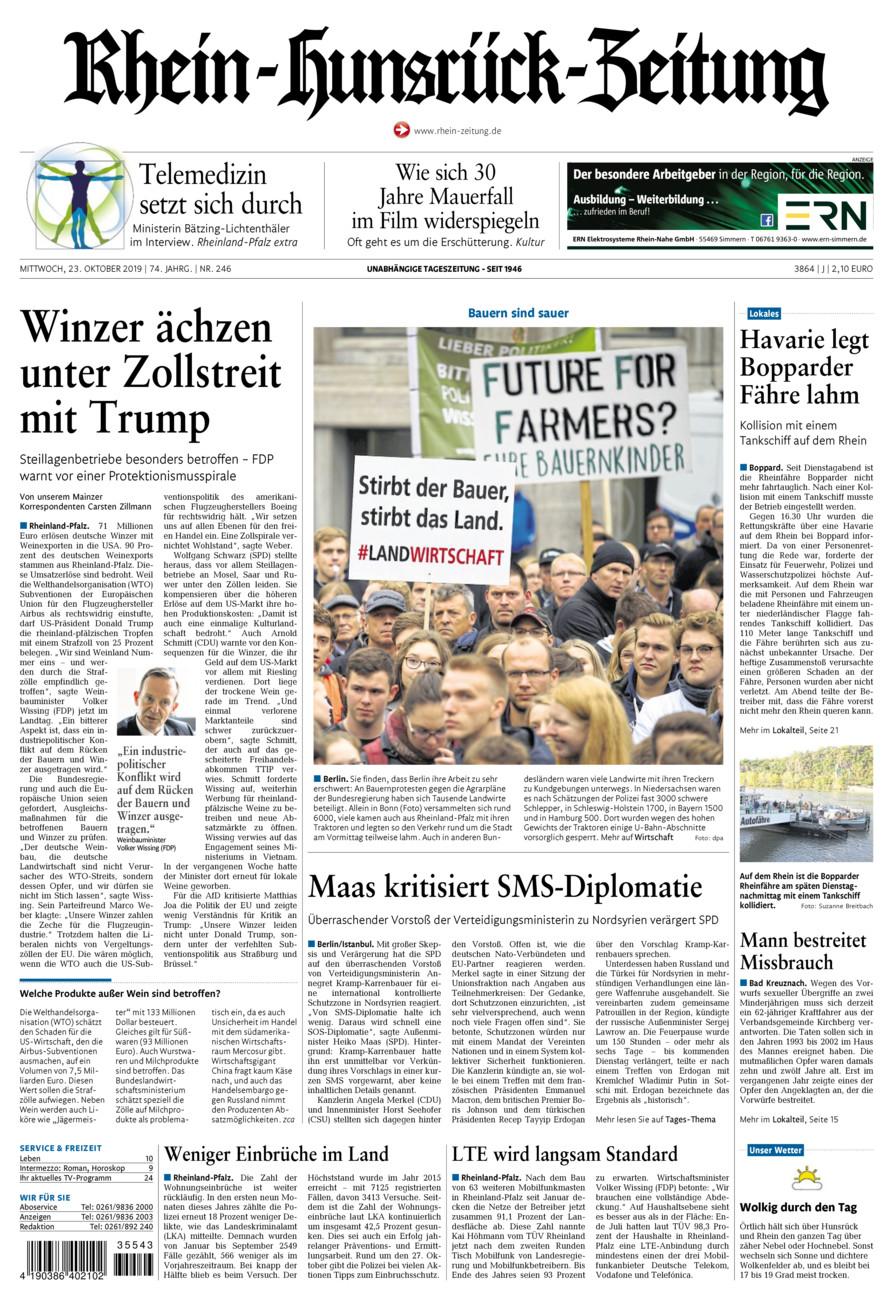 Rhein-Hunsrück-Zeitung vom Mittwoch, 23.10.2019