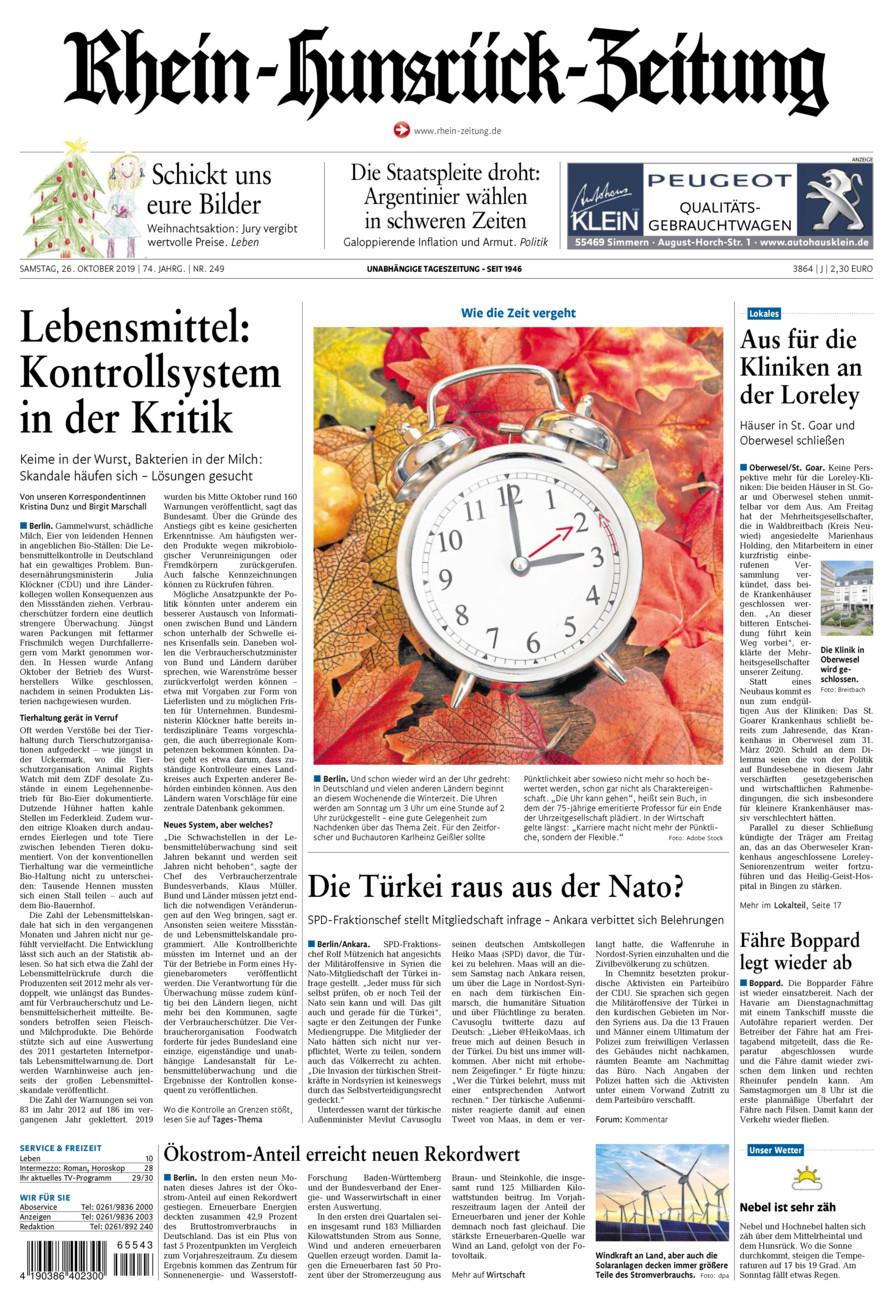 Rhein-Hunsrück-Zeitung vom Samstag, 26.10.2019