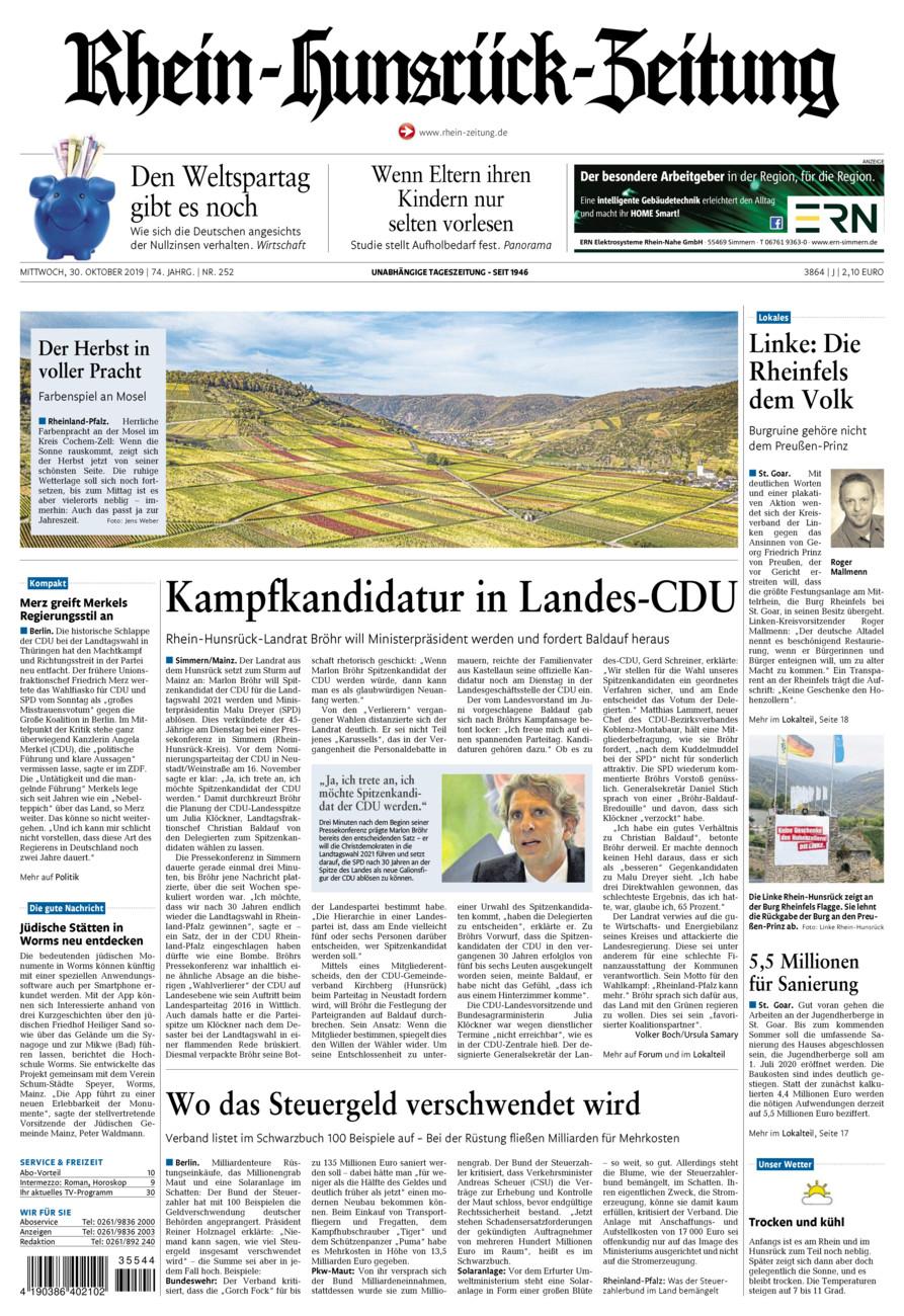 Rhein-Hunsrück-Zeitung vom Mittwoch, 30.10.2019