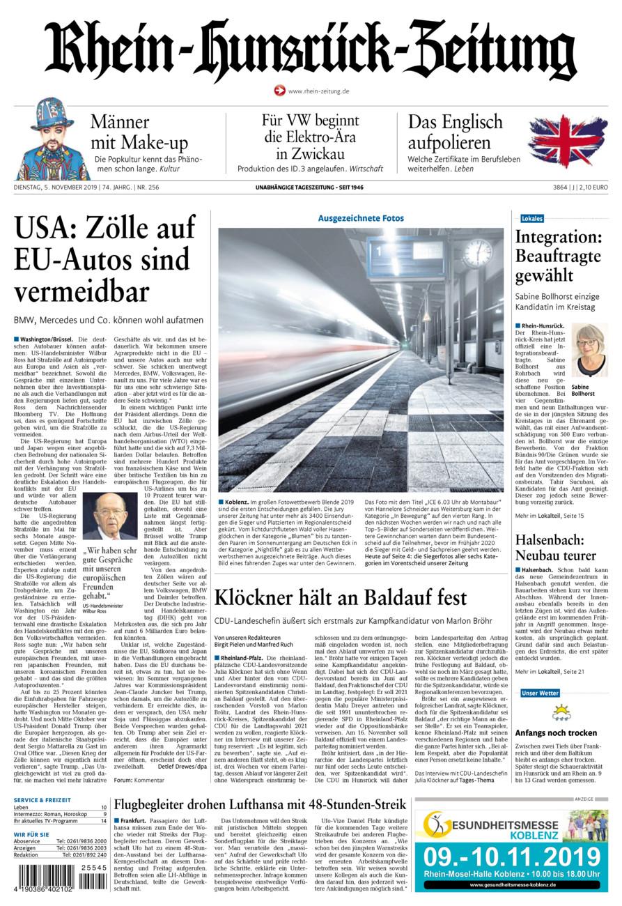 Rhein-Hunsrück-Zeitung vom Dienstag, 05.11.2019