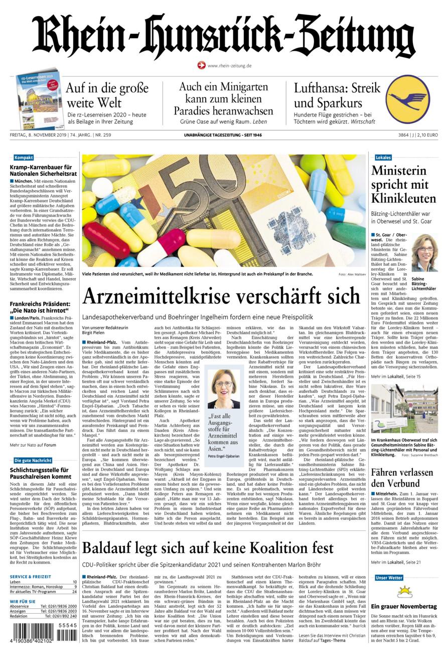 Rhein-Hunsrück-Zeitung vom Freitag, 08.11.2019