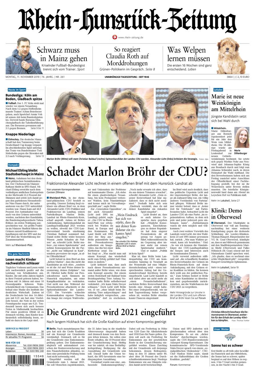 Rhein-Hunsrück-Zeitung vom Montag, 11.11.2019
