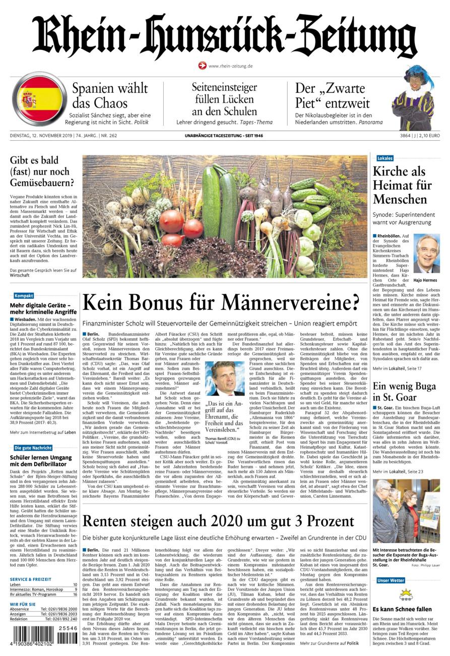 Rhein-Hunsrück-Zeitung vom Dienstag, 12.11.2019
