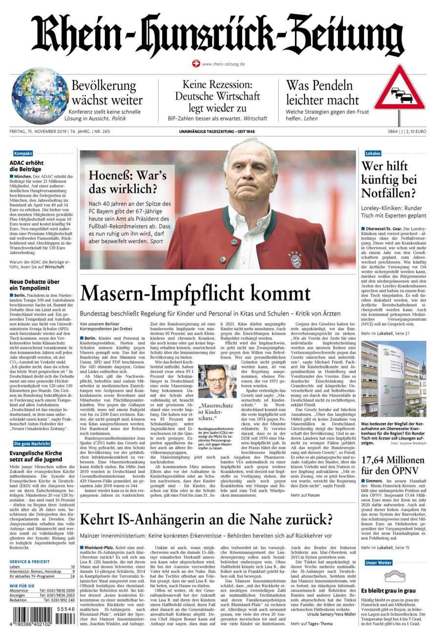 Rhein-Hunsrück-Zeitung vom Freitag, 15.11.2019