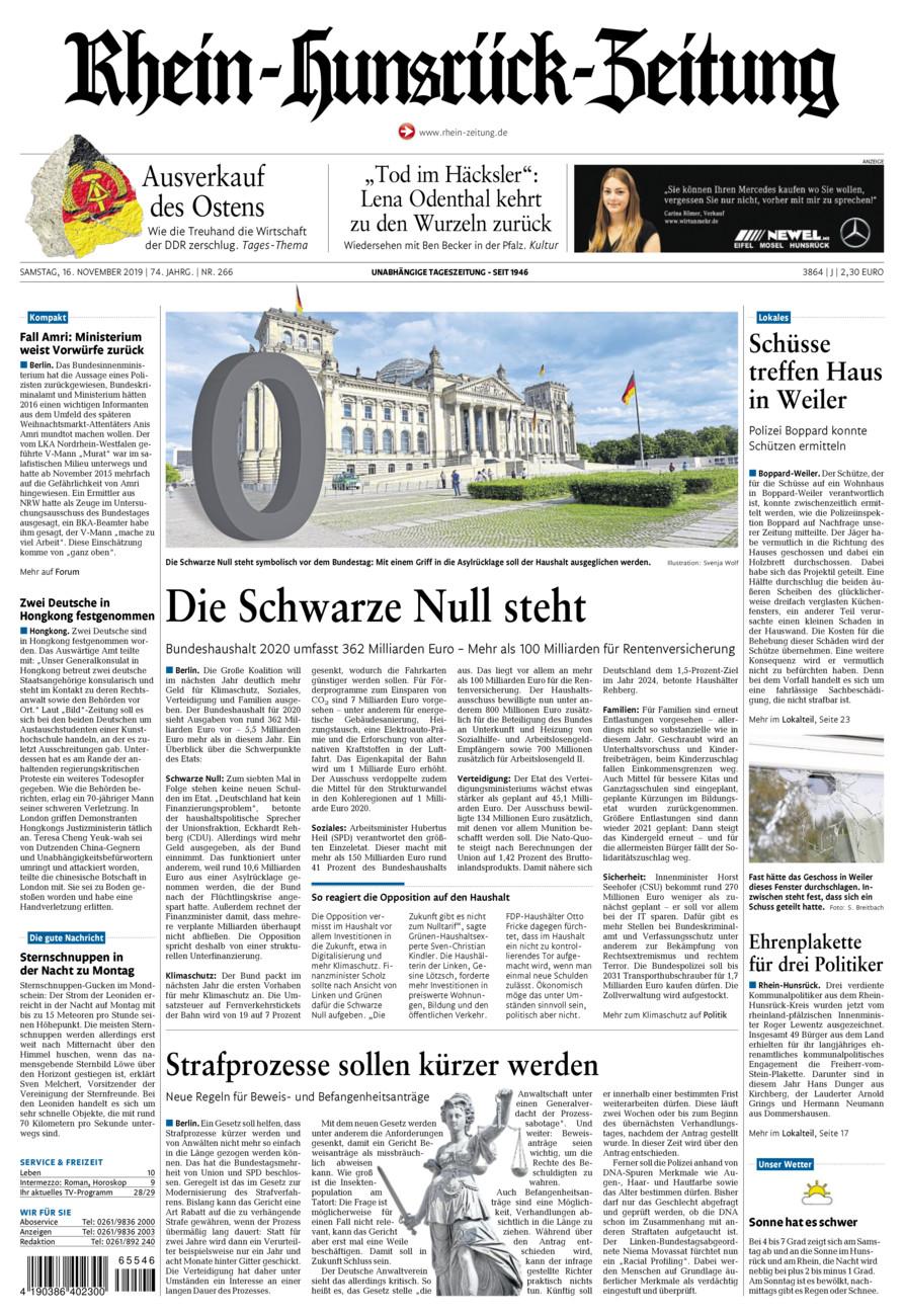 Rhein-Hunsrück-Zeitung vom Samstag, 16.11.2019
