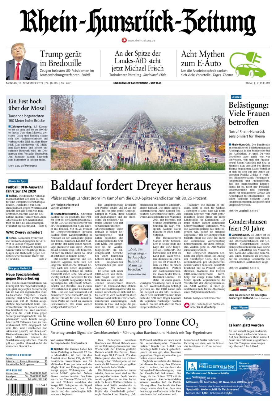 Rhein-Hunsrück-Zeitung vom Montag, 18.11.2019