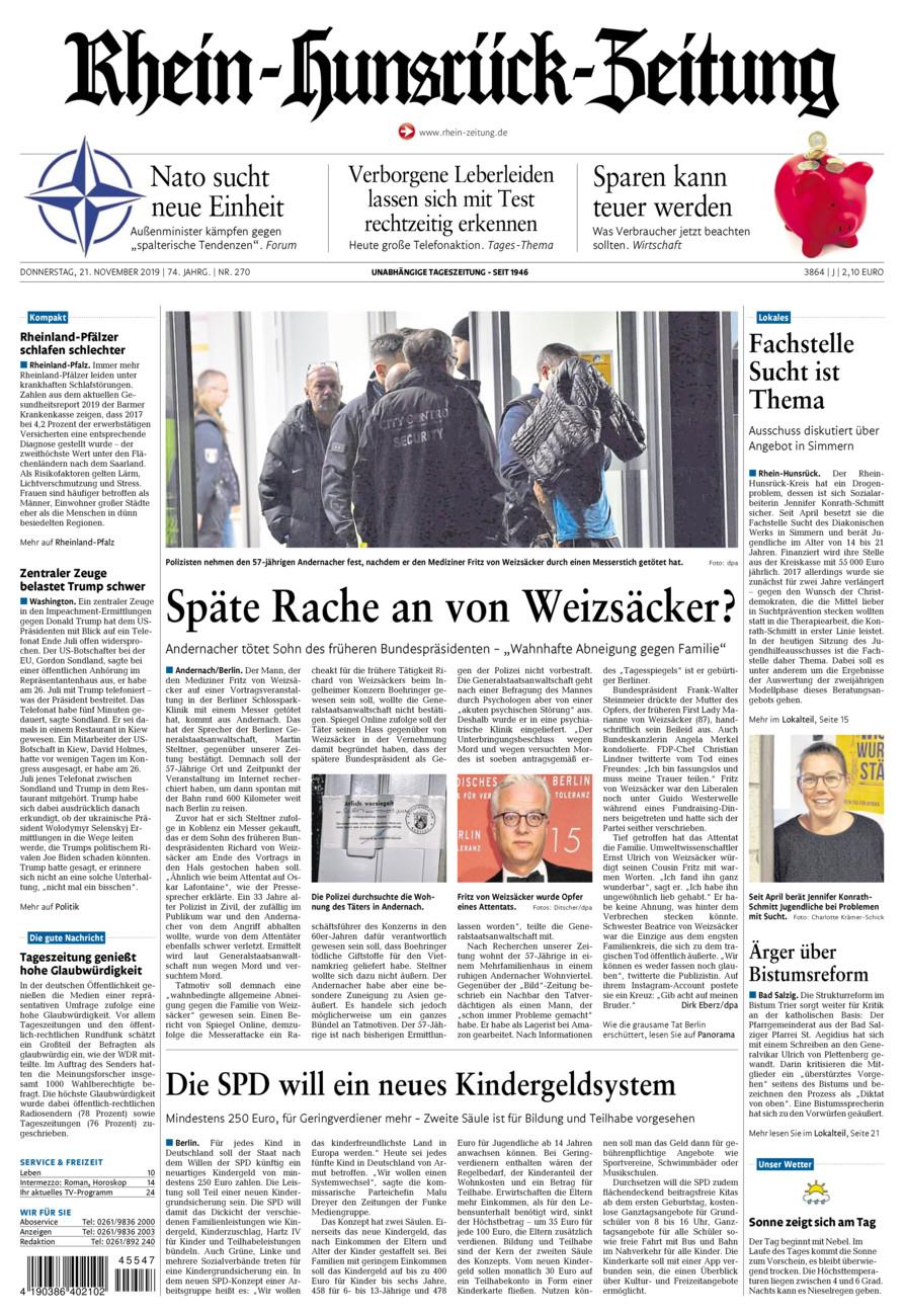 Rhein-Hunsrück-Zeitung vom Donnerstag, 21.11.2019
