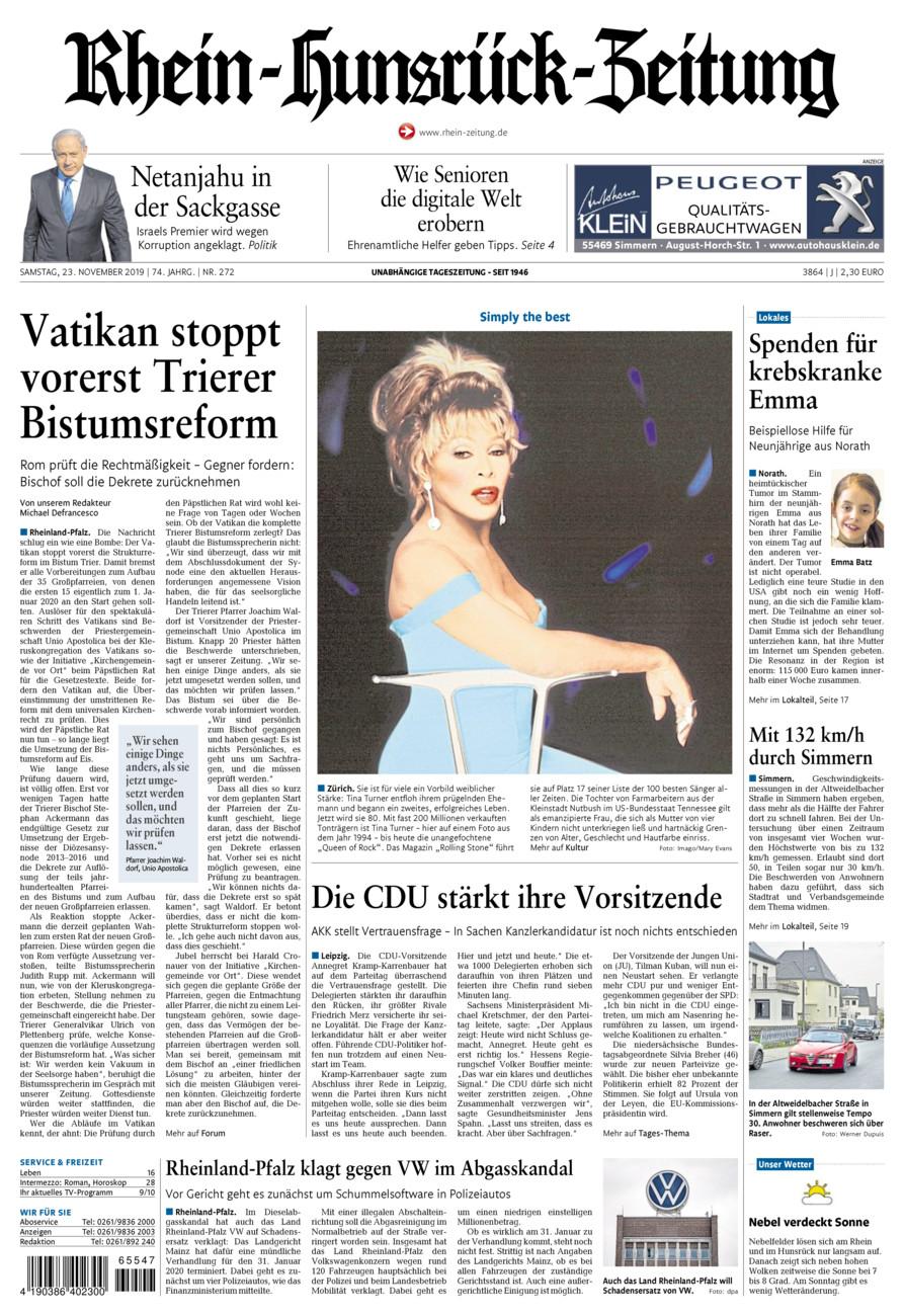 Rhein-Hunsrück-Zeitung vom Samstag, 23.11.2019