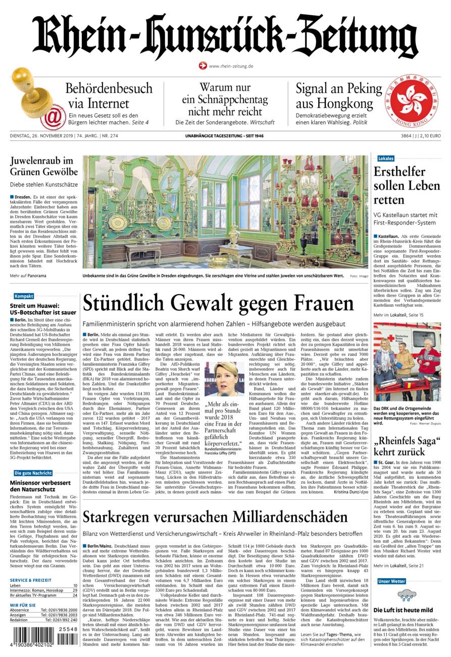 Rhein-Hunsrück-Zeitung vom Dienstag, 26.11.2019
