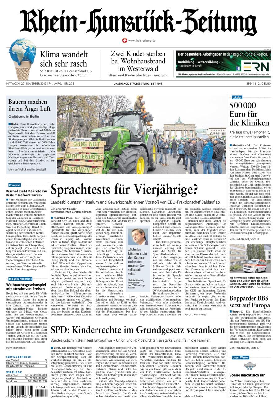 Rhein-Hunsrück-Zeitung vom Mittwoch, 27.11.2019