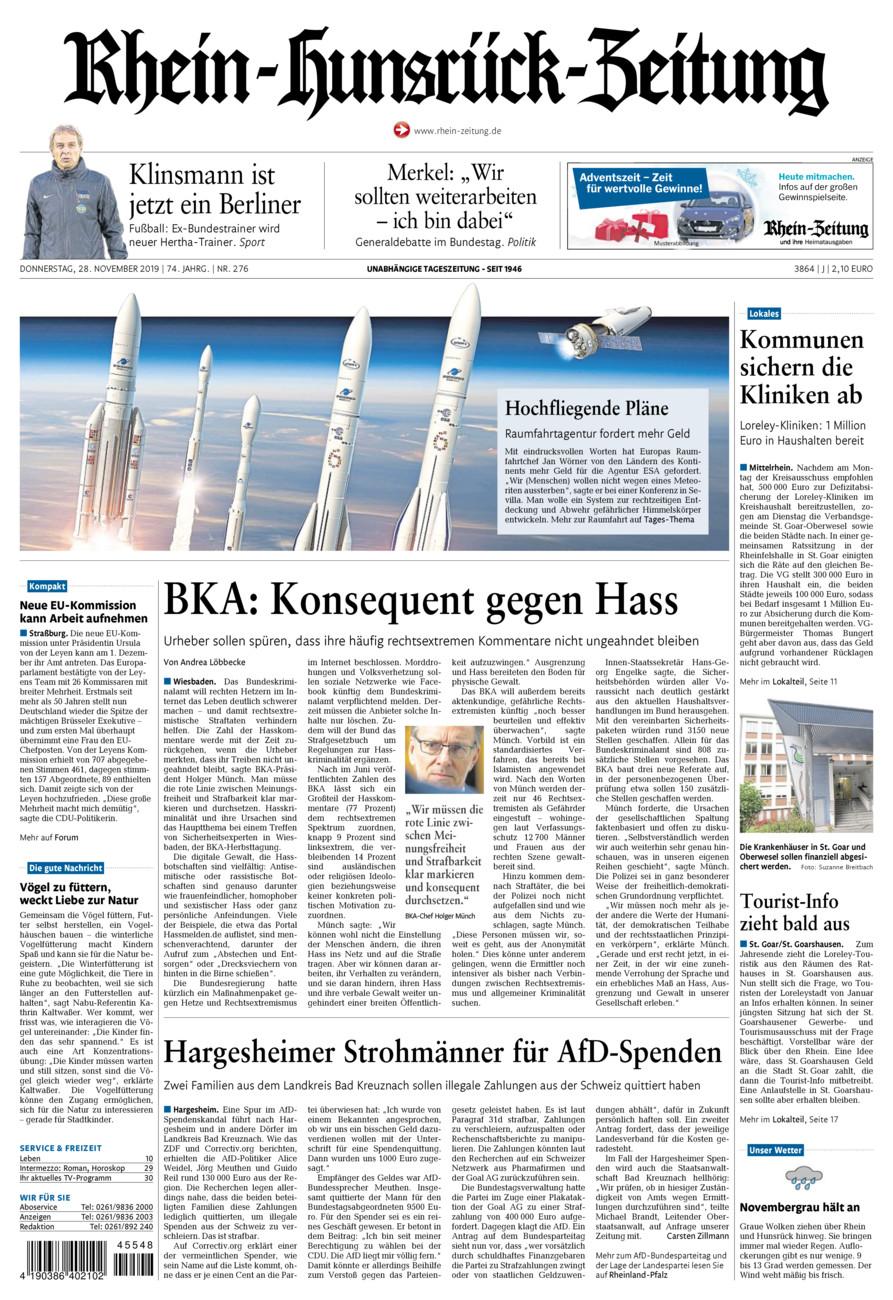Rhein-Hunsrück-Zeitung vom Donnerstag, 28.11.2019
