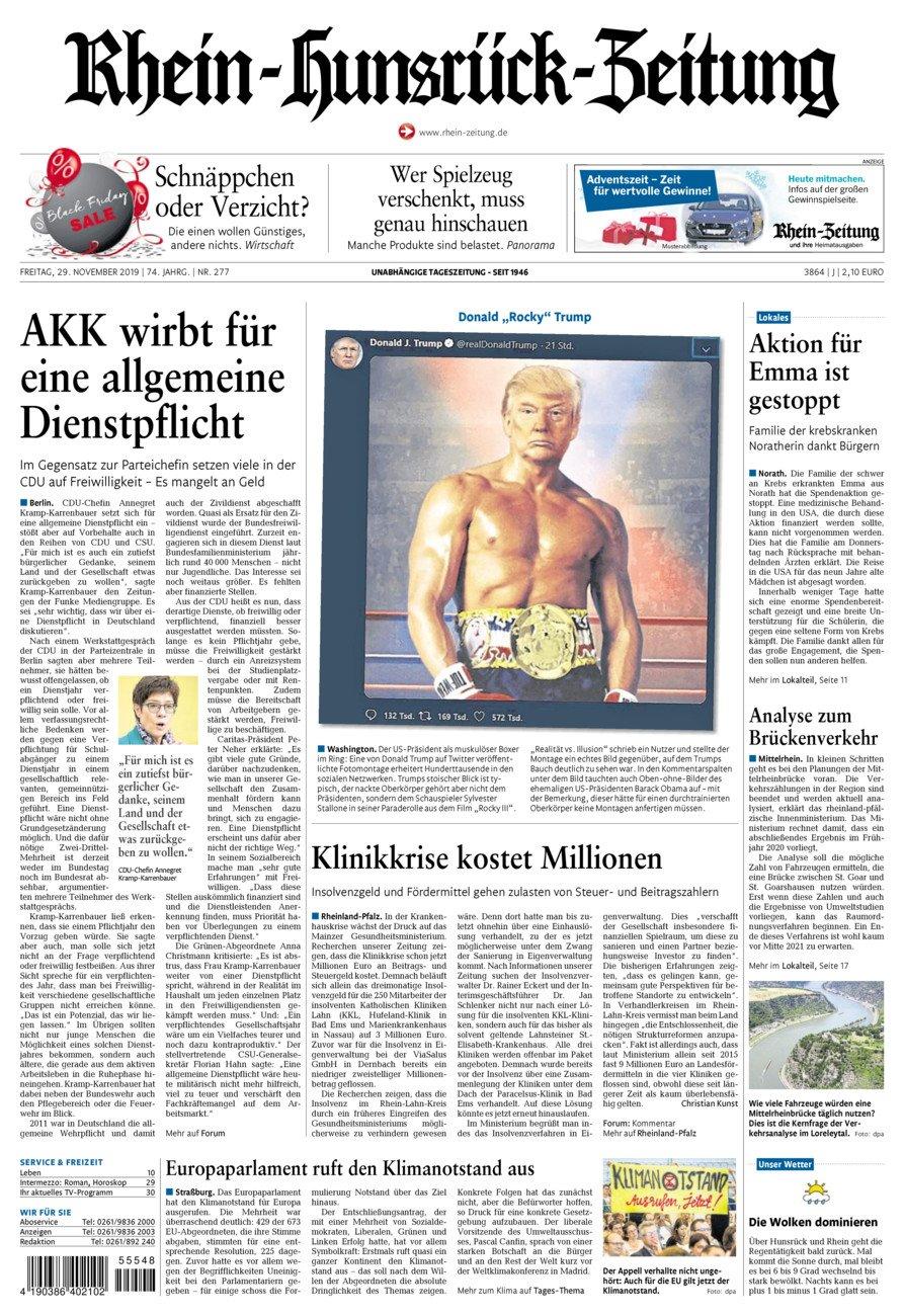 Rhein-Hunsrück-Zeitung vom Freitag, 29.11.2019