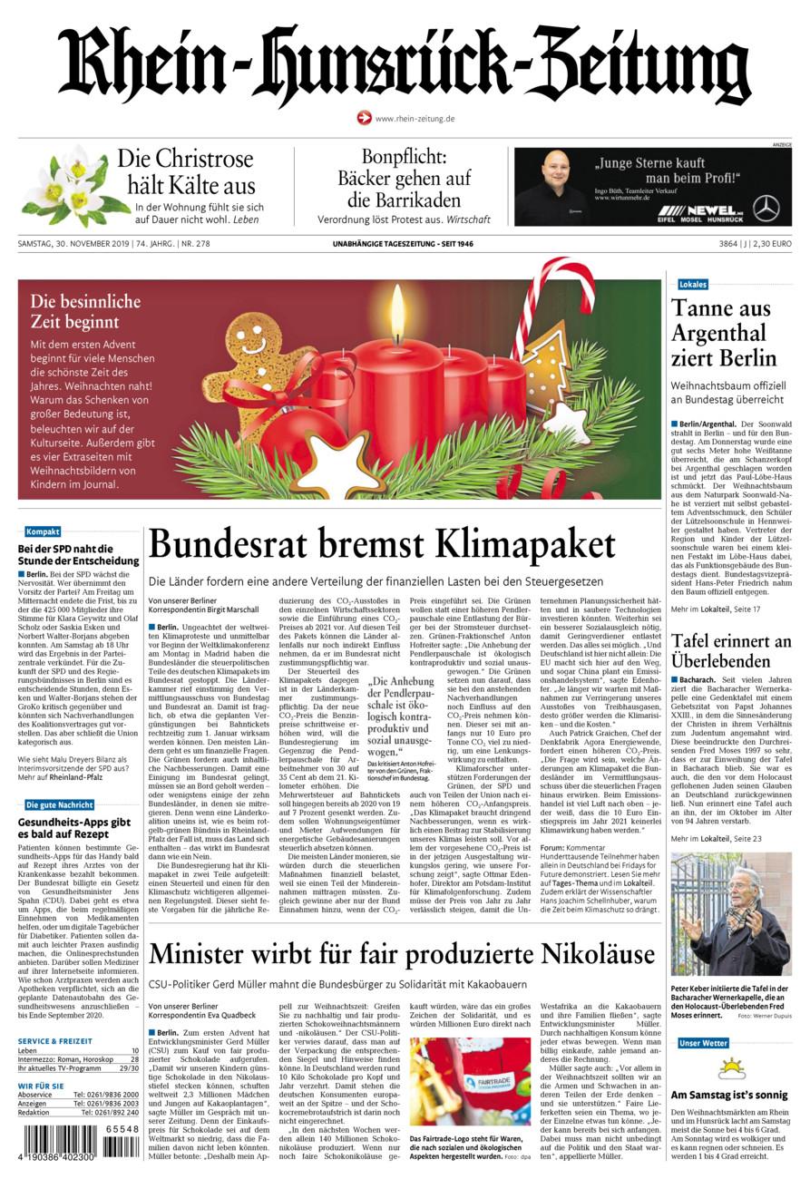 Rhein-Hunsrück-Zeitung vom Samstag, 30.11.2019