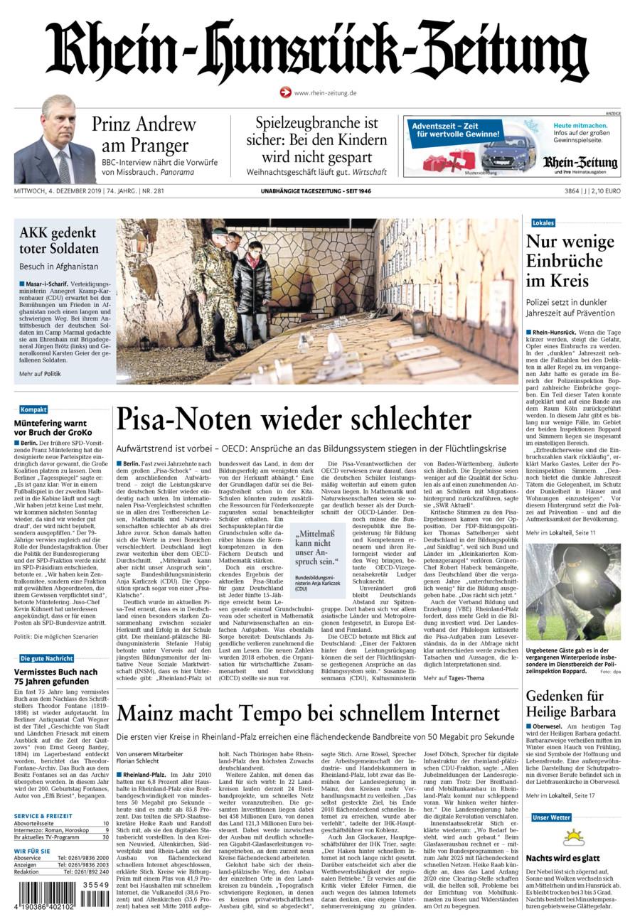 Rhein-Hunsrück-Zeitung vom Mittwoch, 04.12.2019