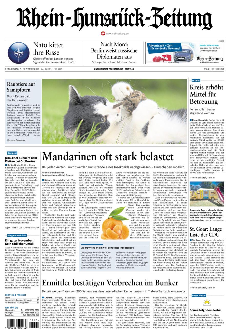 Rhein-Hunsrück-Zeitung vom Donnerstag, 05.12.2019