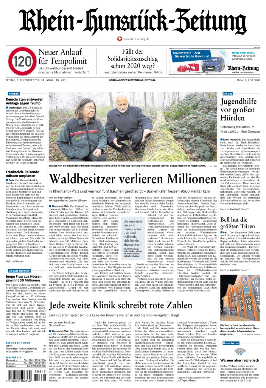 Rhein-Hunsrück-Zeitung vom Freitag, 06.12.2019