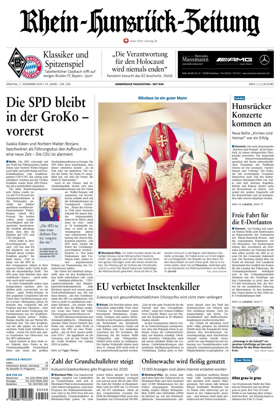 Rhein-Hunsrück-Zeitung vom Samstag, 07.12.2019