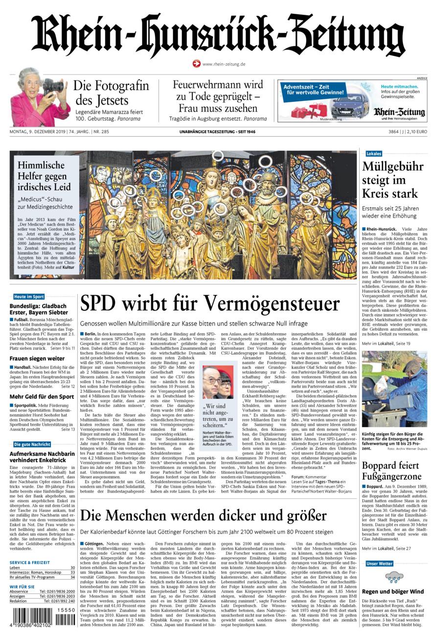Rhein-Hunsrück-Zeitung vom Montag, 09.12.2019