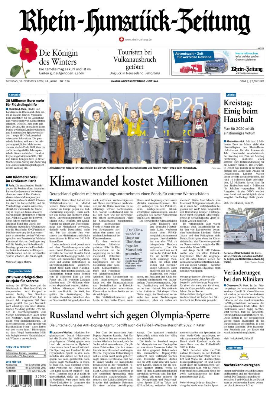 Rhein-Hunsrück-Zeitung vom Dienstag, 10.12.2019