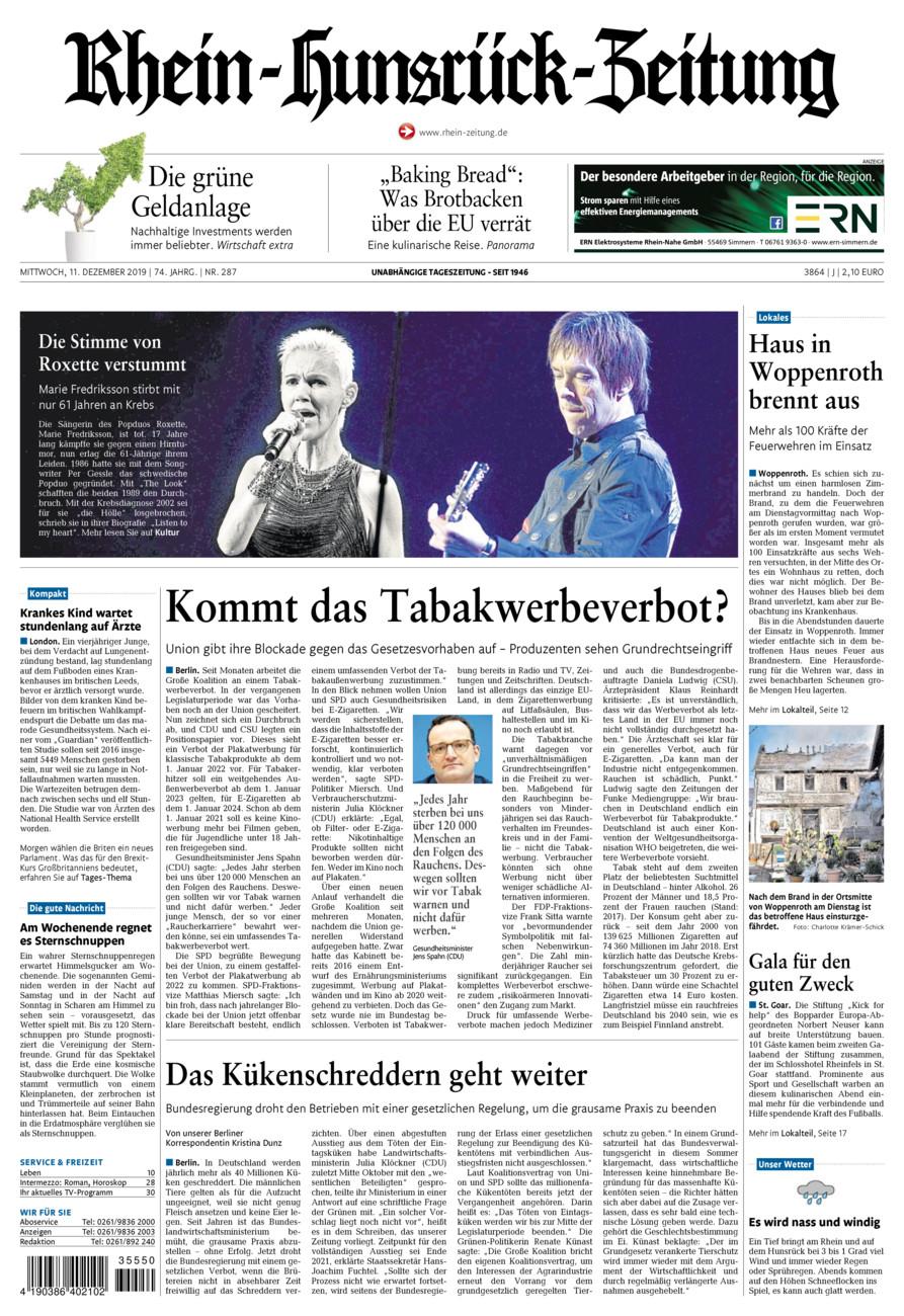 Rhein-Hunsrück-Zeitung vom Mittwoch, 11.12.2019