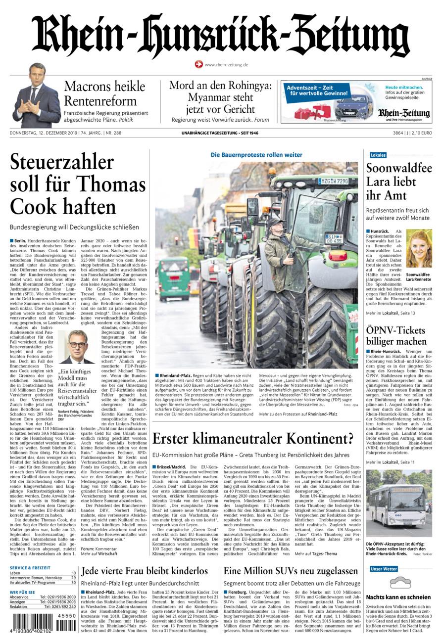 Rhein-Hunsrück-Zeitung vom Donnerstag, 12.12.2019