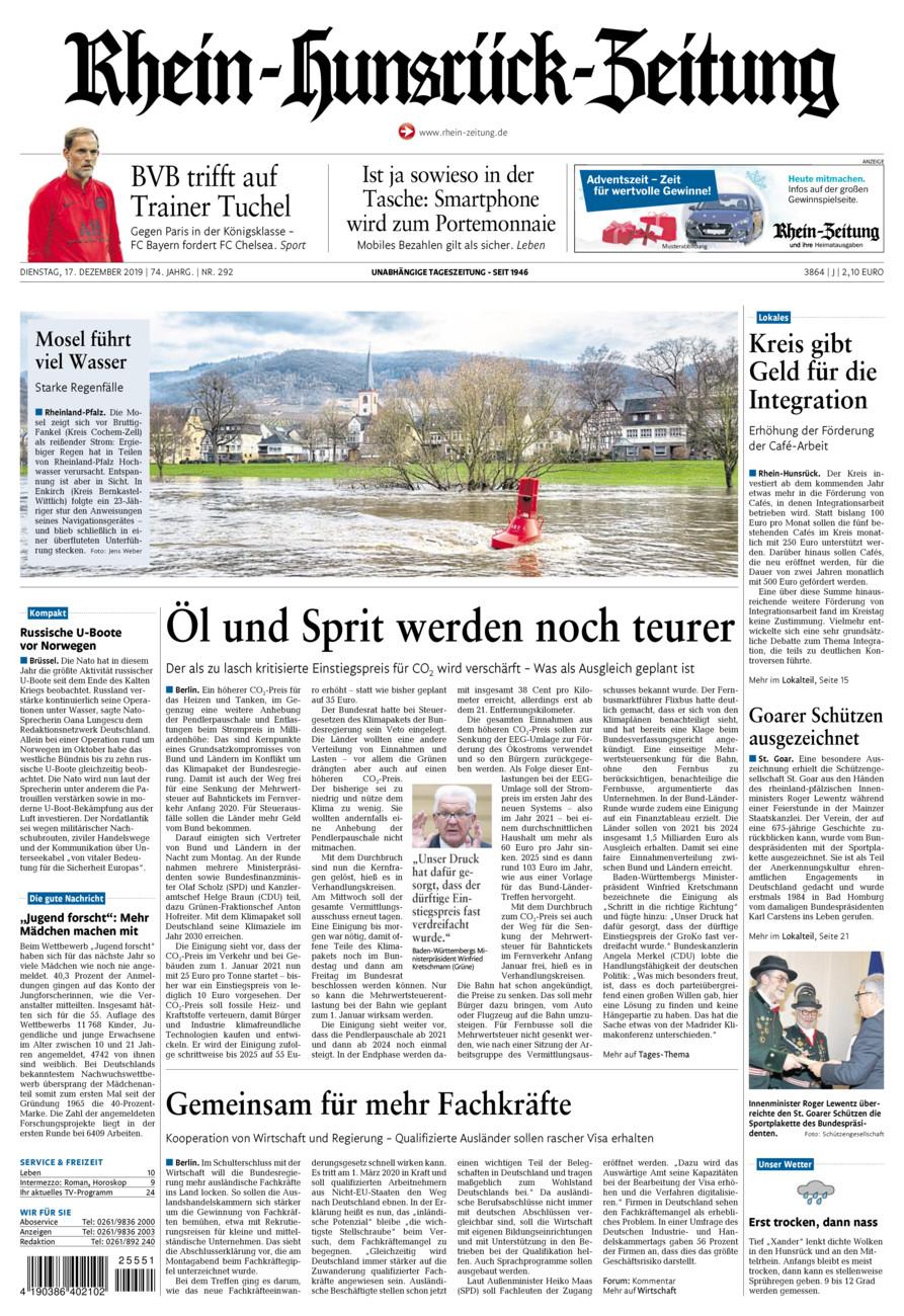 Rhein-Hunsrück-Zeitung vom Dienstag, 17.12.2019