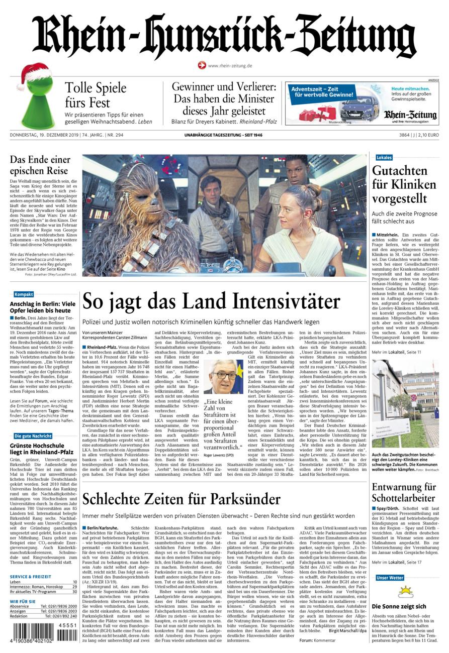 Rhein-Hunsrück-Zeitung vom Donnerstag, 19.12.2019