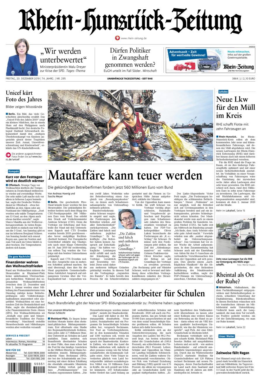 Rhein-Hunsrück-Zeitung vom Freitag, 20.12.2019